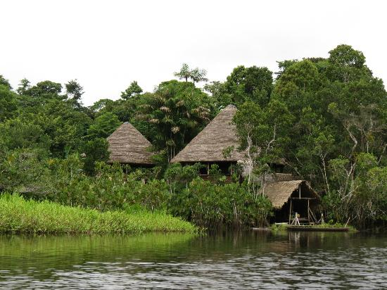 Sani Lodge as viewed from the lagoon.