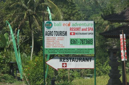 Bali Eco Resort and Adventure: The only sign giving away the secret