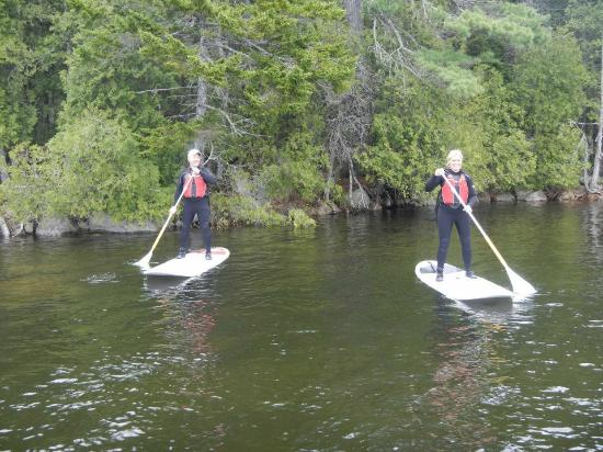 Acadia Stand Up Paddleboarding: My wife and I on Echo Lake, first time paddle boarding,