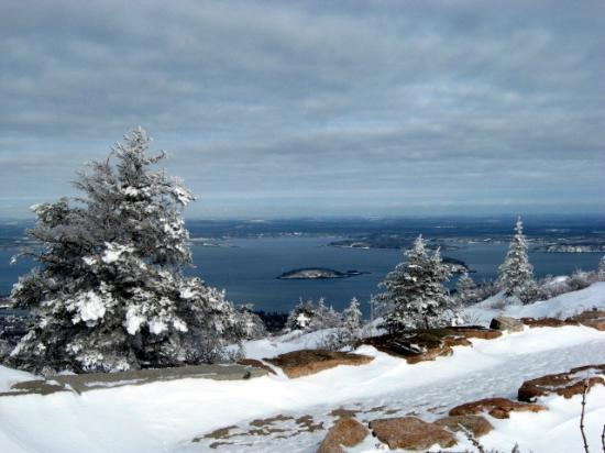 Blackwoods Campground: Winter view, top of Cadillac Mountain