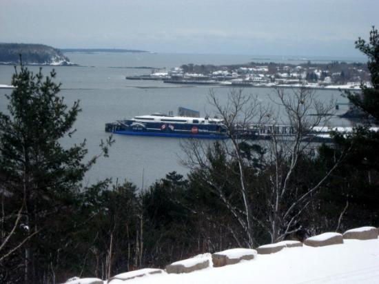 """Blackwoods Campground : """"The Cat"""" at dock, Bar Harbor, winter 2011"""
