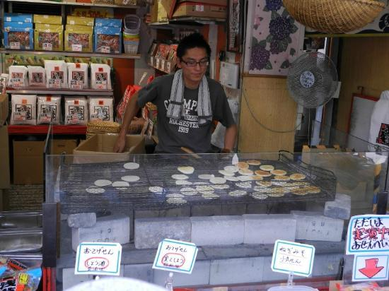 Nakamise Shopping Street (Kaminarimon): some sort of baked/grilled japanese pancake