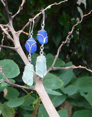 Bamboo Art & Sea Glass Creations: Choose from a large selection of sea glass earrings
