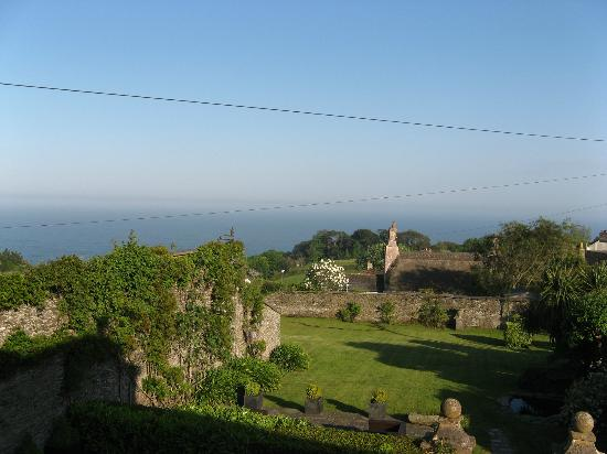 Strete Barton House: view from Bay View, including the garden in the foreground and the sea in the distance