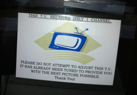 The Aspen Inn: The note of the TV (that has a rotary channel dial).
