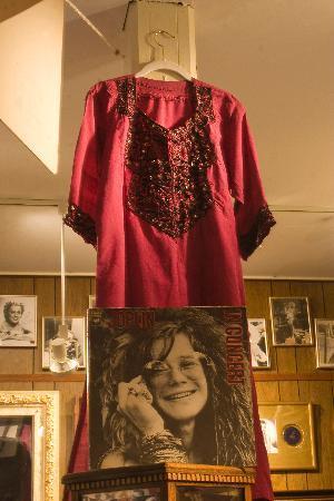 Janis Joplin's raw silk 'hippie' dress is shown hanging in residence, at Abingdon's Star Museum.