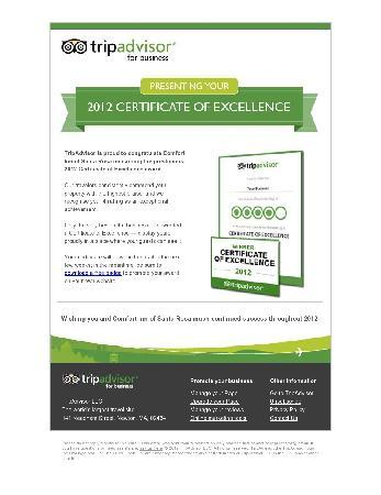 Comfort Inn Santa Rosa : 2012 Certificate of Excellence