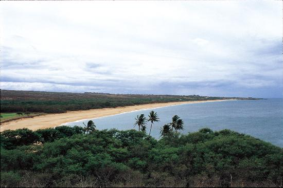 Molokai, HI: Papohaku Beach County Park/When viewing Papohaku Beach from the hill, the endless stretch of gol