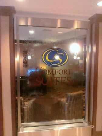 كومفرت سويتس: water feature in lobby entrance, very relaxing and beautiful!