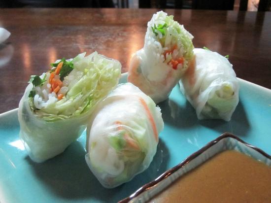 Cafe de Bangkok: fresh spring roll appetizer – two rolls filled with shrimp and crisp vegetables all wrapped in c