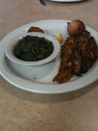 Rowdy's Family Restaurant: Blackened catfish and greens; excellent!