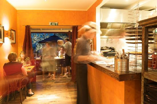 Vangionis Trattoria and Bar: The open kitchen and courtyard