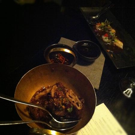 Farang: Caramelized pork. Sashimi