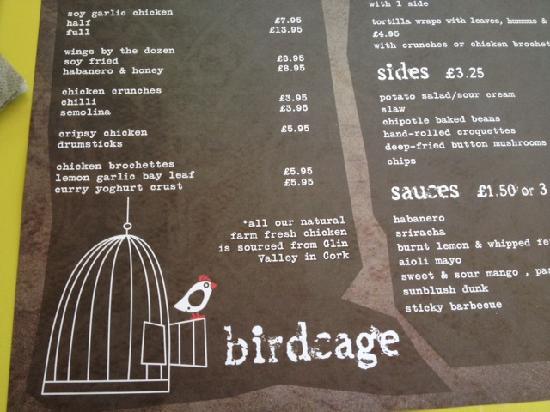 Loteria: Birdcage menu