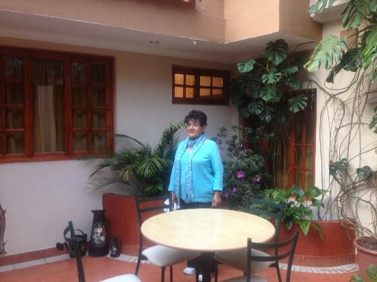 Posada Todos Santos : The owner standing in the central eating area