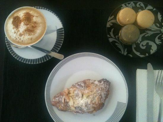 Elysee: Almond Croissant, Macaroons and Italian Capuccino