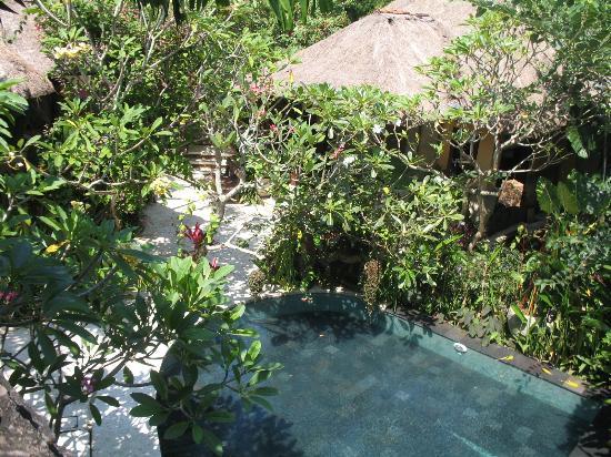 Moon Villas: Shot from balcony overlooking the pool at Moon Villa