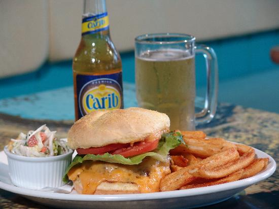Kaya Island Eats: The Burger - amber ale cheddar