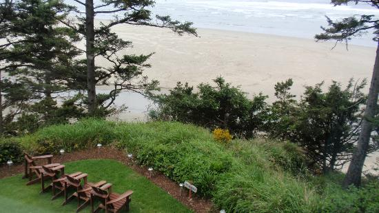 Tyee Lodge: Seating area on grounds overlooking the cliff and beach area
