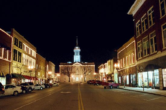 Downtown Columbia at night.
