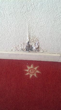 Anis Hotel: Typical condition of the wall - cracked and damaged