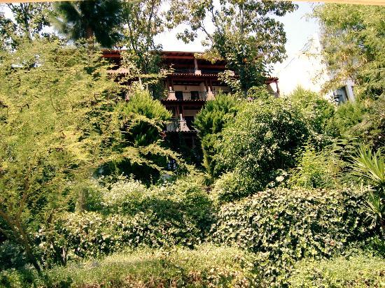 Atami Hotel: façade du 1er bloc de l'hotel dans la végétation
