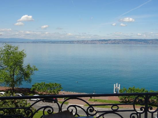 Savoy Hotel Evian: View of Lausanne, Switzerland across lake from front balcony