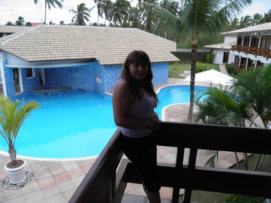 Tropical Oceano Praia: desde el balcon  en el fondo zona de bar y sauna