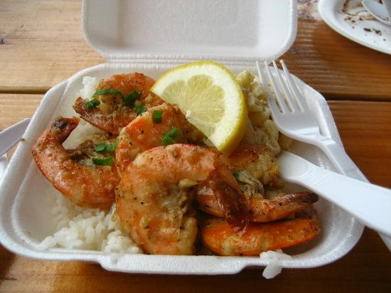 Kahuku, Havaí: Giant Garlic Shrimp!