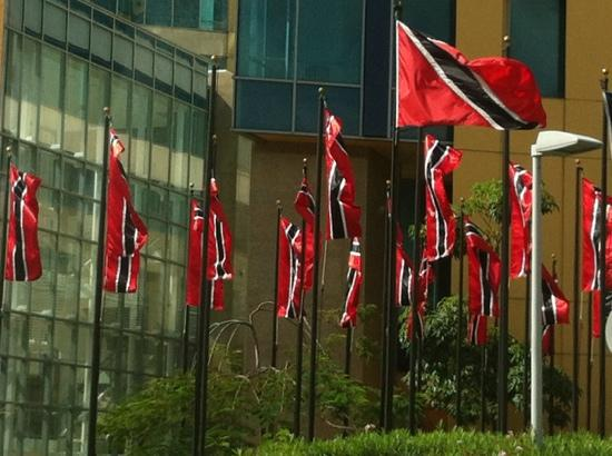 Hyatt Regency Trinidad: Flags At Entrance of Hyatt complex