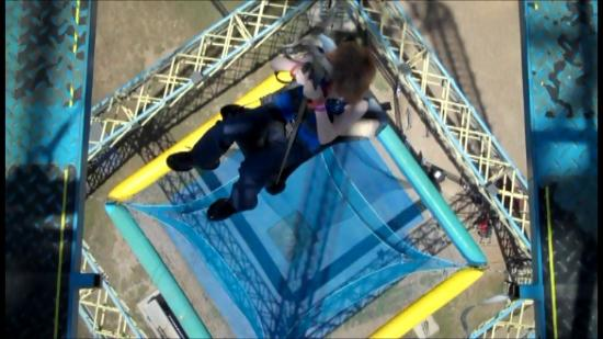 Zero Gravity Thrill Amusement Park: This is me on Nothing But Net after the operator released the rope