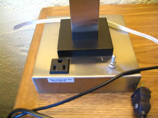 Motel 6 Moline: Power outlet for your laptop in desk lamp base.