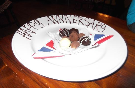 Red Lion Inn: Happy Anniversary gesture was appreciated
