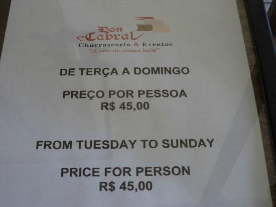 Don Cabral: precio del buffet