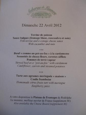 Auberge de Launay: April 2012 Menu