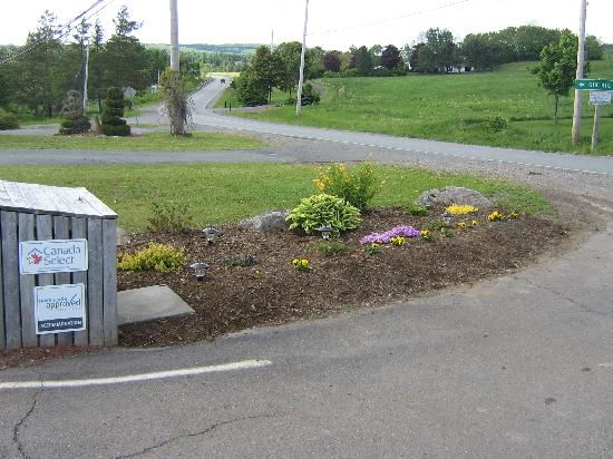 Antigonish Evergreen Inn: Our entry way - another new flower bed