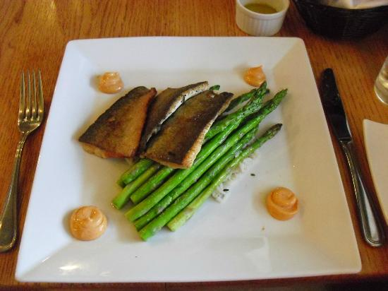The Standard Restaurant: Trout with asparagus and rice