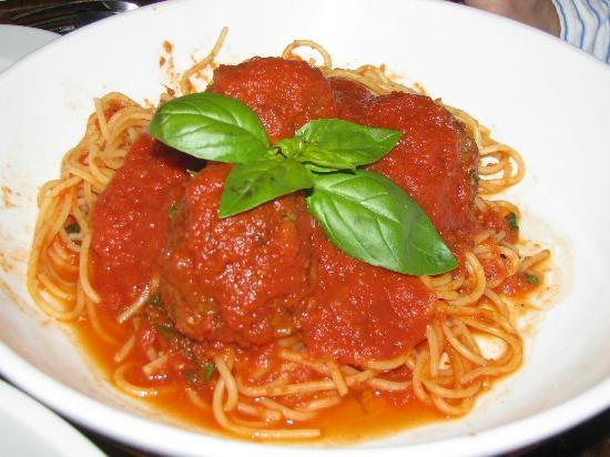 Biaggi's Ristorante Italiano: Spaghetti and Meatballs Decorated with a Touch of Green