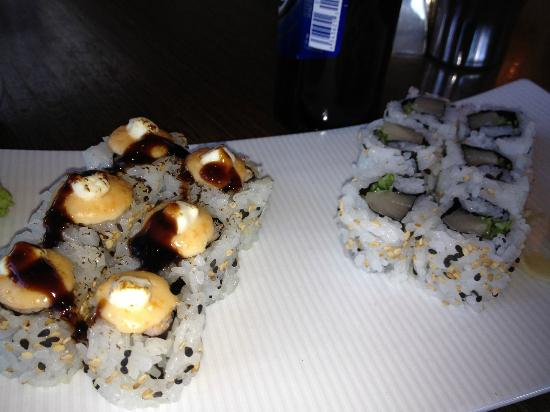 Simon Restaurant & Lounge: Happy Hour $6 baked California roll and yellowtail rolls were small but quality maki.