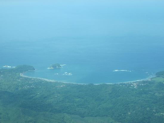 The Harmony Hotel: View from the airplane of a good snorkeling cove south of the hotel.
