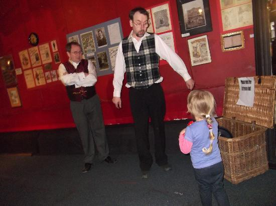 Britannia Panopticon  Music Hall: curator helps out a young visitor