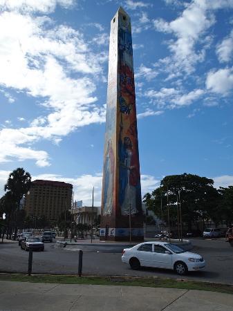 Malecón: Obelisk memorializing the Butterfly Sisters, along the Malecon, Santo Domingo, Dominican Republi