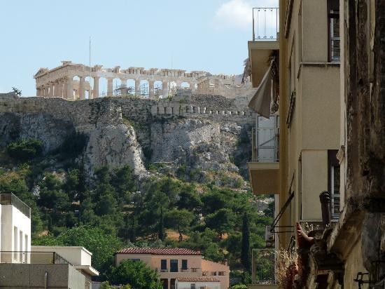 Hotel Tempi: close up of Parthenon from balcony