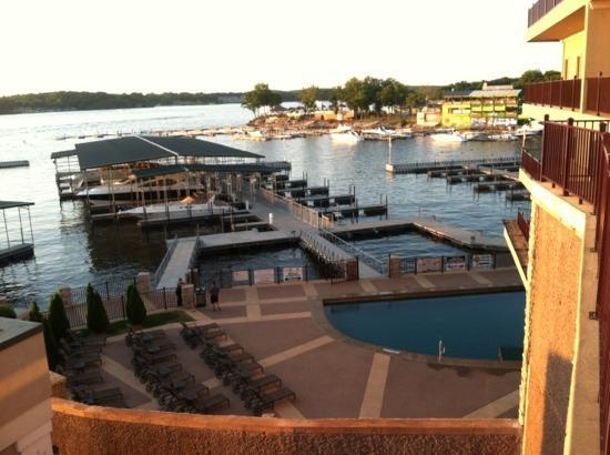 Camden on the Lake Resort : Side view of cove and pool below with swim up bar