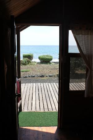 Floreana Lava Lodge: View of the sea from the Golondrina Cabin.
