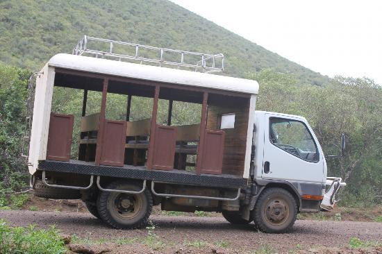 Floreana Lava Lodge: The Chiva - our wheels on the island.