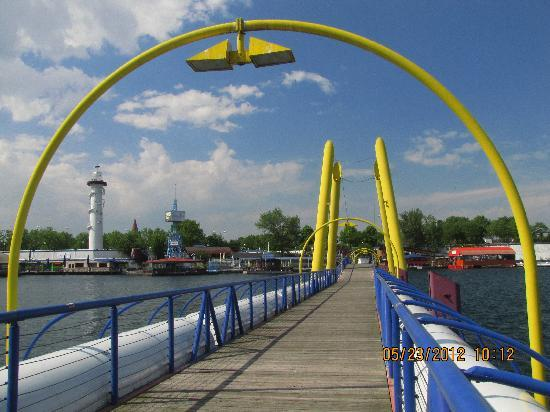 Vienna, Donauinsel ~ Pedestrian bridge and Lighthouse looking south