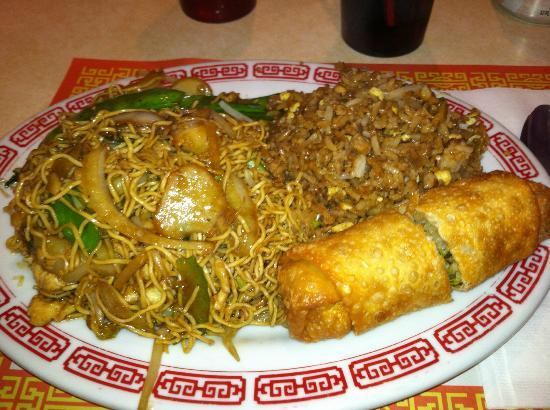 Dragon Cafe: Lunch special combination #22:  Chicken Lomein, egg roll, fried rice