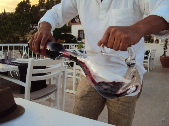Agora Restaurant : Our wine being decanted