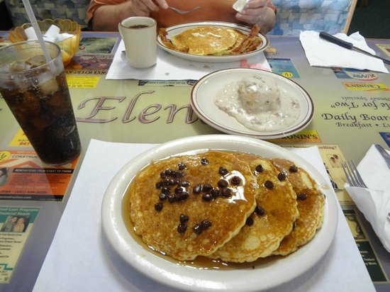 Elena's South Restaurant : chocolate chip pancakes, pancakes, and a biscuit